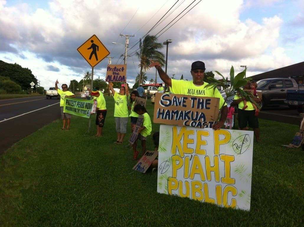 Protect Peahi Coalition Members advocate for protection of coastal lands.