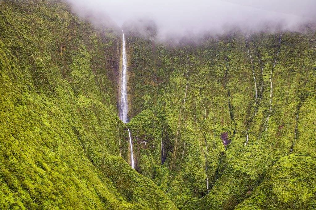 Waterfalls flowing in Puu Kukui Watershed Preserve