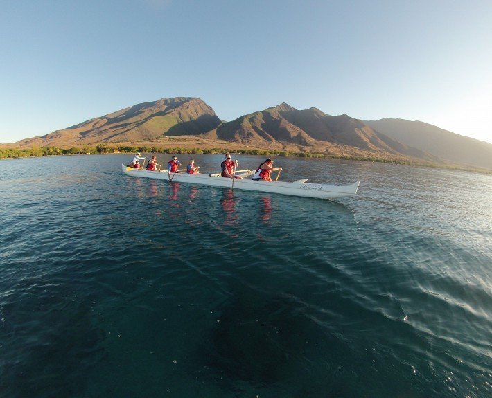 Outrigger Canoe scenic mountain background
