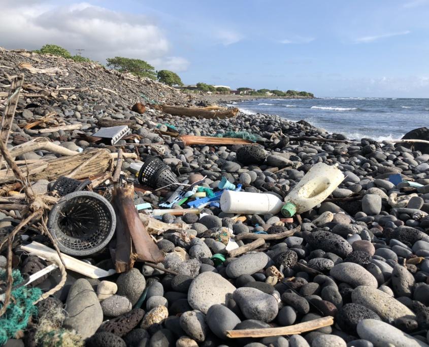 Plastic Trash on Beach Maui