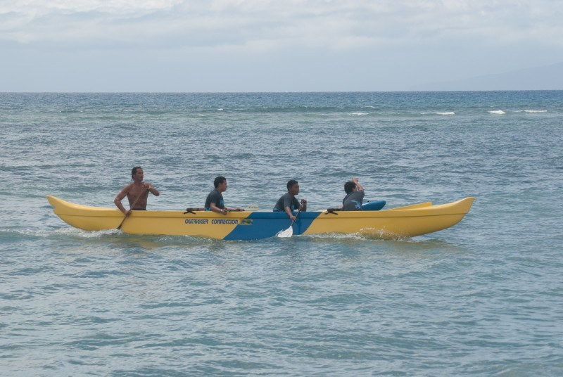 Outrigger canoe surfing with Maui Youth and Family services and Hawaiian Paddle Sports