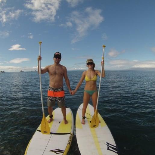 Couple Stand Up Paddle South Maui