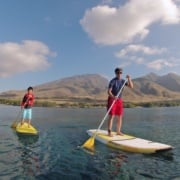 Father and son SUP lesson Maui