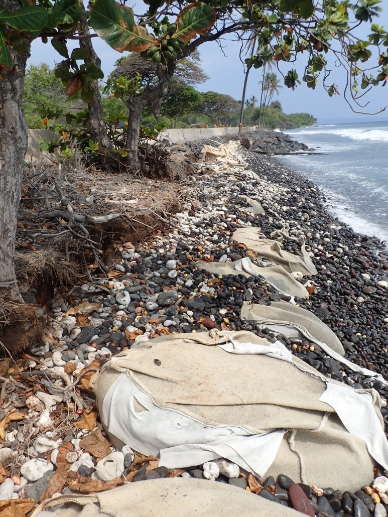 Coastal erosion along the Olowalu coastline is threatening the road and public infrastructure. Shoreline armoring projects are scheduled for large stretches of coastline.