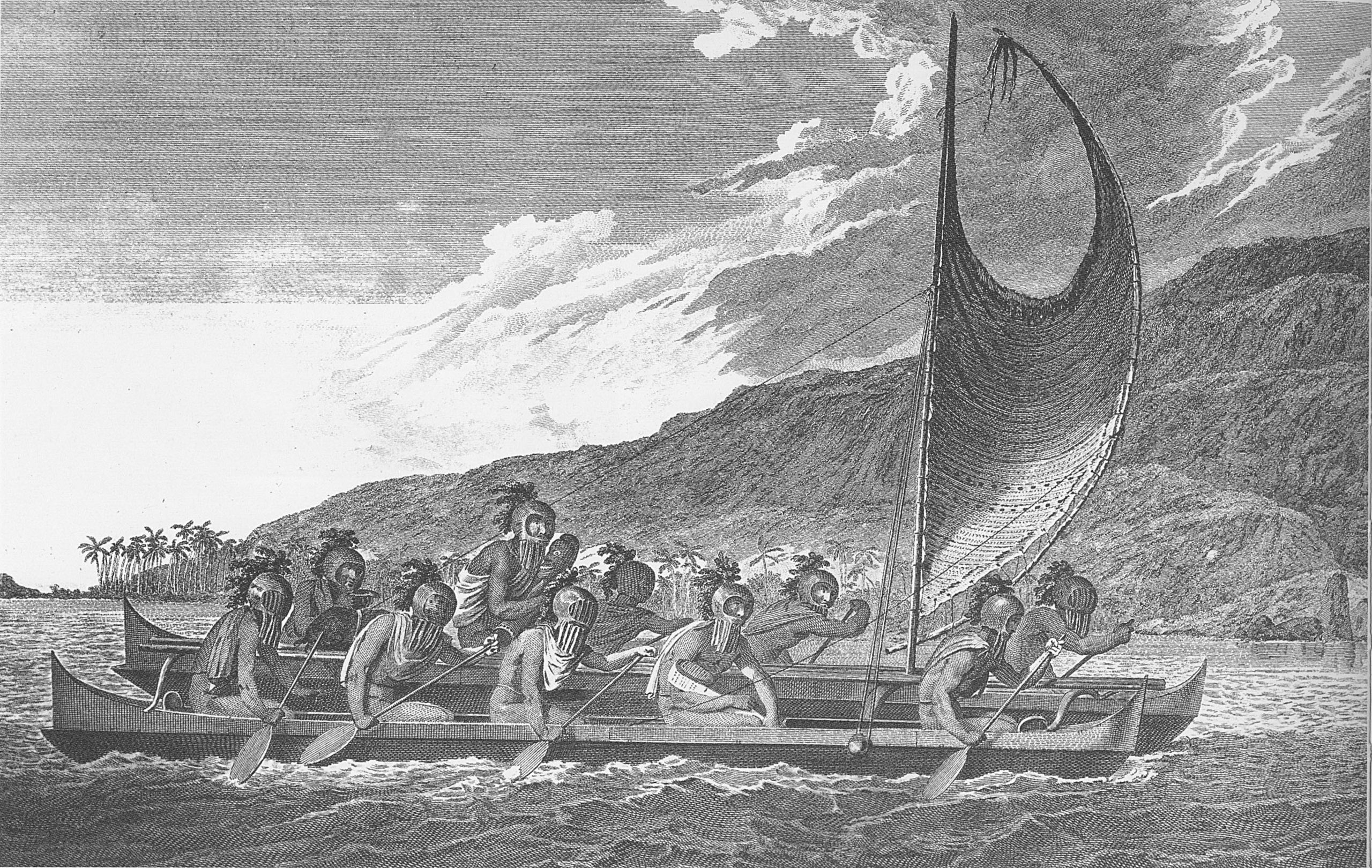 Old photo of Polynesian voyaging