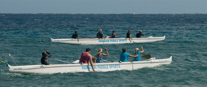 Canoe paddling towards Honolua Bay