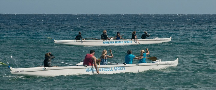 Canoe paddling towards Honolua Bay