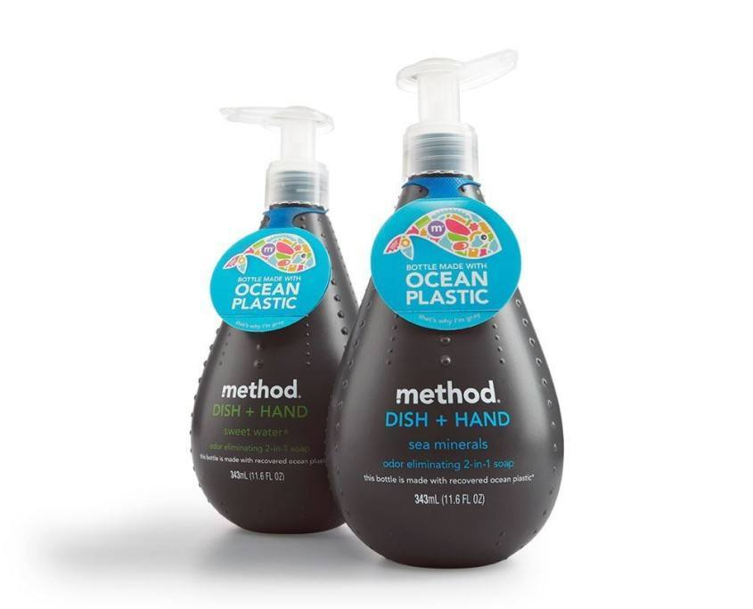Method soap dispenser made from ocean plastic