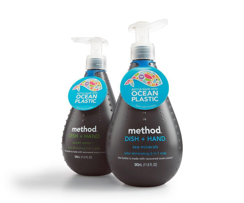 Method soap dispenser made from ocean plastic