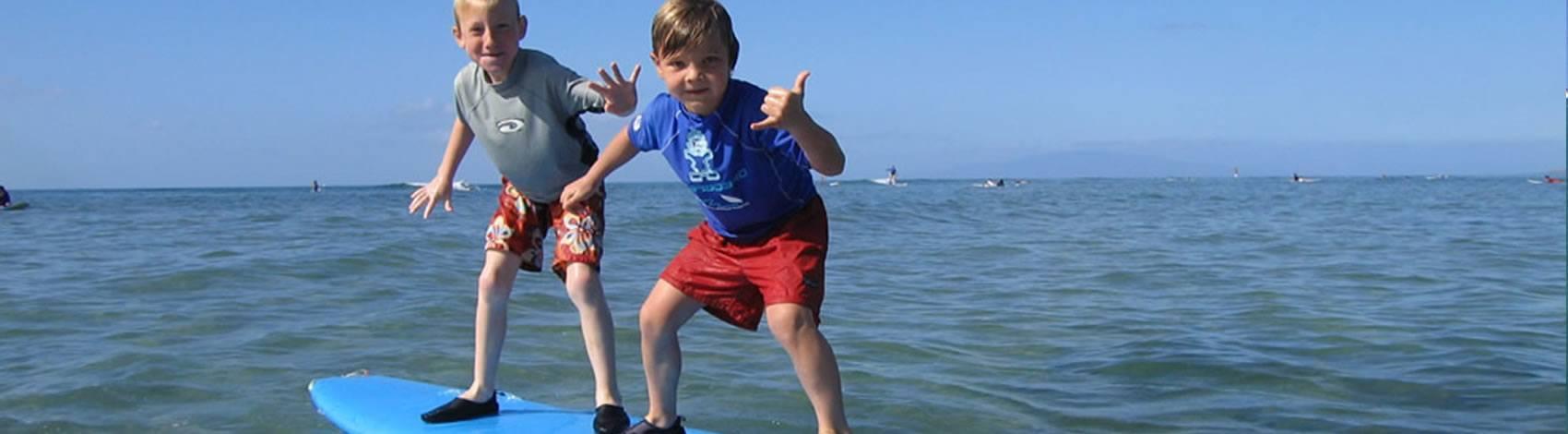 boys tandem surfing