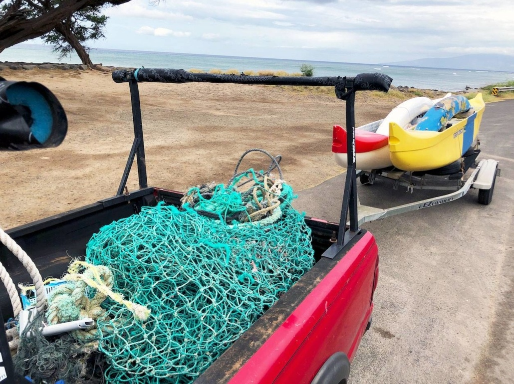 Marine debris during canoe surf